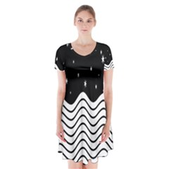 Black And White Waves And Stars Abstract Backdrop Clipart Short Sleeve V-neck Flare Dress