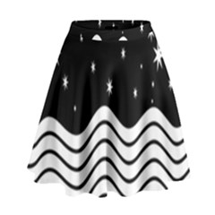 Black And White Waves And Stars Abstract Backdrop Clipart High Waist Skirt