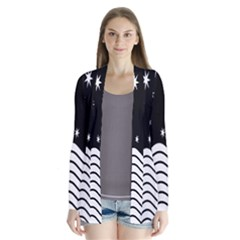Black And White Waves And Stars Abstract Backdrop Clipart Cardigans