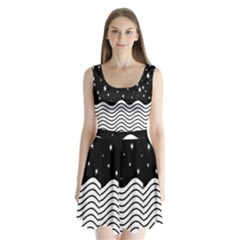 Black And White Waves And Stars Abstract Backdrop Clipart Split Back Mini Dress