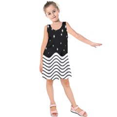 Black And White Waves And Stars Abstract Backdrop Clipart Kids  Sleeveless Dress