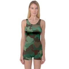 Camouflage Pattern A Completely Seamless Tile Able Background Design One Piece Boyleg Swimsuit