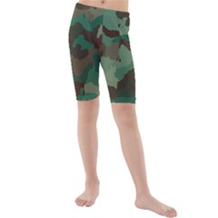 Camouflage Pattern A Completely Seamless Tile Able Background Design Kids  Mid Length Swim Shorts
