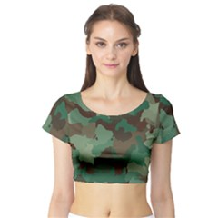 Camouflage Pattern A Completely Seamless Tile Able Background Design Short Sleeve Crop Top (tight Fit)