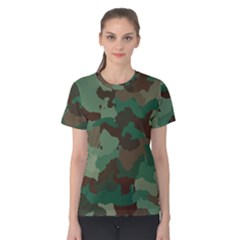 Camouflage Pattern A Completely Seamless Tile Able Background Design Women s Cotton Tee