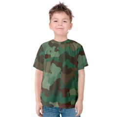Camouflage Pattern A Completely Seamless Tile Able Background Design Kids  Cotton Tee