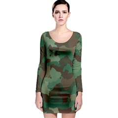 Camouflage Pattern A Completely Seamless Tile Able Background Design Long Sleeve Bodycon Dress