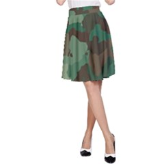 Camouflage Pattern A Completely Seamless Tile Able Background Design A-Line Skirt