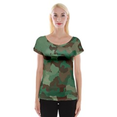 Camouflage Pattern A Completely Seamless Tile Able Background Design Women s Cap Sleeve Top