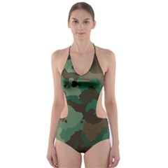 Camouflage Pattern A Completely Seamless Tile Able Background Design Cut-Out One Piece Swimsuit