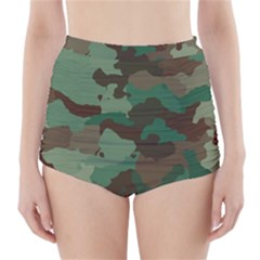 Camouflage Pattern A Completely Seamless Tile Able Background Design High Waisted Bikini Bottoms