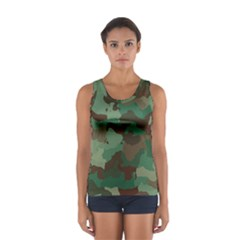 Camouflage Pattern A Completely Seamless Tile Able Background Design Women s Sport Tank Top