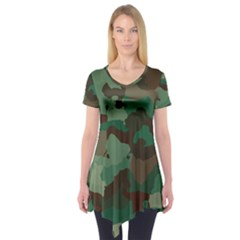 Camouflage Pattern A Completely Seamless Tile Able Background Design Short Sleeve Tunic
