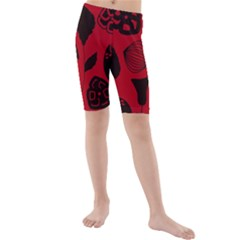 Congregation Of Floral Shades Pattern Kids  Mid Length Swim Shorts