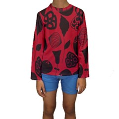 Congregation Of Floral Shades Pattern Kids  Long Sleeve Swimwear