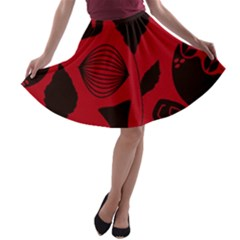 Congregation Of Floral Shades Pattern A-line Skater Skirt