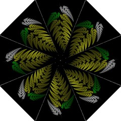 Drawing Of A Fractal Fern On Black Golf Umbrellas