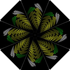 Drawing Of A Fractal Fern On Black Hook Handle Umbrellas (Small)