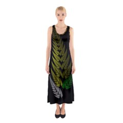 Drawing Of A Fractal Fern On Black Sleeveless Maxi Dress