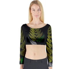 Drawing Of A Fractal Fern On Black Long Sleeve Crop Top