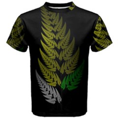 Drawing Of A Fractal Fern On Black Men s Cotton Tee