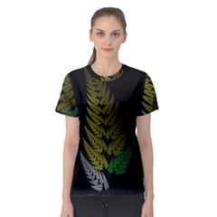 Drawing Of A Fractal Fern On Black Women s Sport Mesh Tee