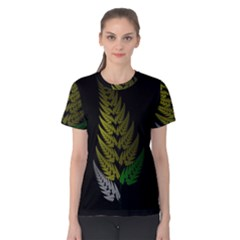 Drawing Of A Fractal Fern On Black Women s Cotton Tee