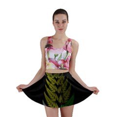 Drawing Of A Fractal Fern On Black Mini Skirt