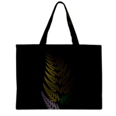 Drawing Of A Fractal Fern On Black Mini Tote Bag