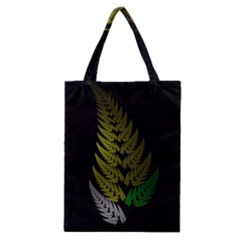 Drawing Of A Fractal Fern On Black Classic Tote Bag