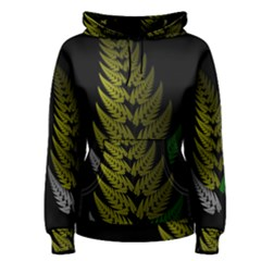 Drawing Of A Fractal Fern On Black Women s Pullover Hoodie