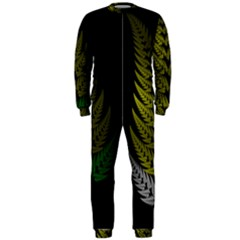Drawing Of A Fractal Fern On Black OnePiece Jumpsuit (Men)
