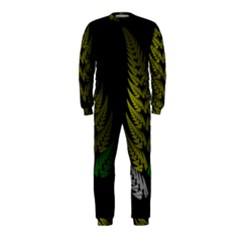 Drawing Of A Fractal Fern On Black Onepiece Jumpsuit (kids)
