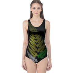 Drawing Of A Fractal Fern On Black One Piece Swimsuit