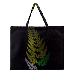 Drawing Of A Fractal Fern On Black Zipper Large Tote Bag