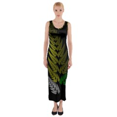 Drawing Of A Fractal Fern On Black Fitted Maxi Dress