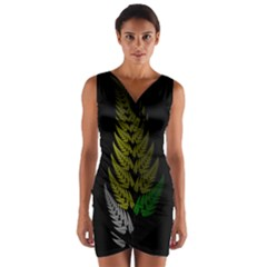 Drawing Of A Fractal Fern On Black Wrap Front Bodycon Dress