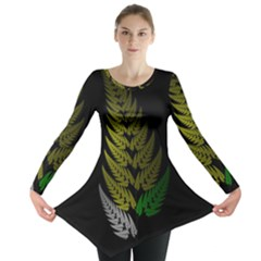Drawing Of A Fractal Fern On Black Long Sleeve Tunic