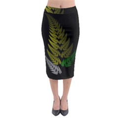 Drawing Of A Fractal Fern On Black Midi Pencil Skirt