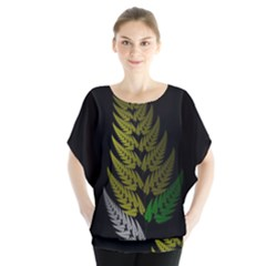 Drawing Of A Fractal Fern On Black Blouse