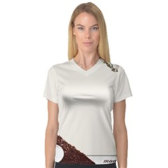 Greeting Card Coffee Mood Women s V-Neck Sport Mesh Tee