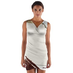 Greeting Card Coffee Mood Wrap Front Bodycon Dress