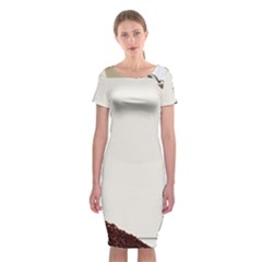 Greeting Card Coffee Mood Classic Short Sleeve Midi Dress
