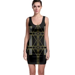 Simple Art Deco Style  Sleeveless Bodycon Dress
