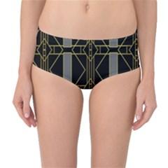 Simple Art Deco Style  Mid-Waist Bikini Bottoms