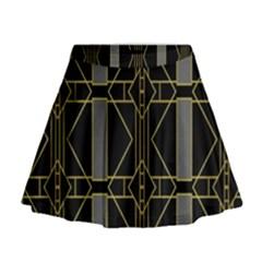 Simple Art Deco Style  Mini Flare Skirt