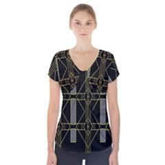 Simple Art Deco Style  Short Sleeve Front Detail Top