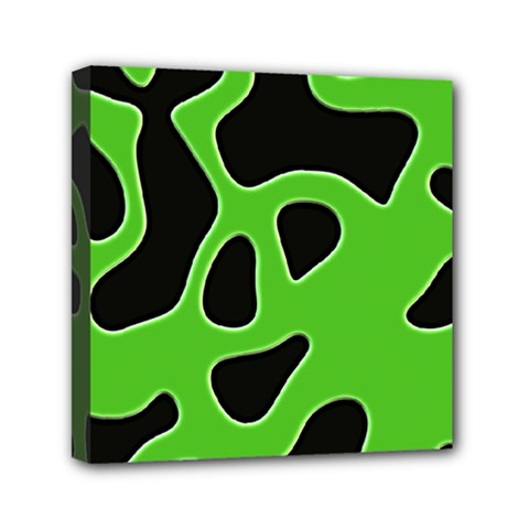 Black Green Abstract Shapes A Completely Seamless Tile Able Background Mini Canvas 6  X 6