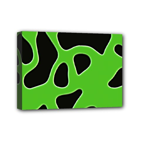 Black Green Abstract Shapes A Completely Seamless Tile Able Background Mini Canvas 7  X 5