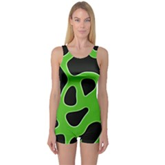 Black Green Abstract Shapes A Completely Seamless Tile Able Background One Piece Boyleg Swimsuit